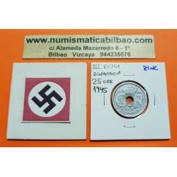DINAMARCA 25 ORE 1945 KM*823.2 ESCUDO ZINC III REICH NAZI WWII