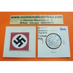 .BOHEMIA y MORAVIA 1 KORUNA 1941 Hoy Chekia ZINC III REICH NAZI