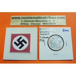 BOHEMIA y MORAVIA 1 KORUNA 1941 LEON Hoy Chekia KM.4 MONEDA DE ZINC OCUPACION NAZI III REICH WWII Hoy Chekia