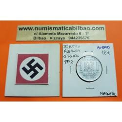 ALBANIA 0,50 LEK 1940 VITTORIO EMANUELLE III KM.30 @MAGNETIC@ MONEDA DE ACERO OCUPACION NAZI III REICH WWII