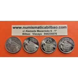 4 monedas x ESPAÑA 25 PESETAS 1957 * 72+73+74+75 FRANCO PROOF DE CARTERA FNMT 1972 1973 1974 1975