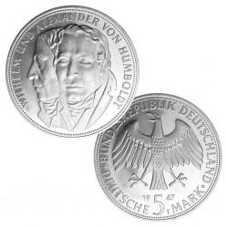 ALEMANIA 5 MARCOS 1967 F WILHELM y ALEXANDER VON HUMBOLDT KM.120 MONEDA DE PLATA SC GERMANY MARKS SILVER