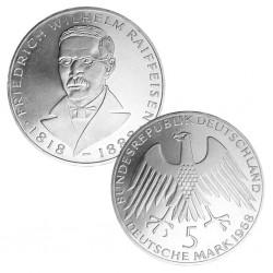 ALEMANIA 5 MARCOS 1968 J FRIEDRICH WILHELM RAIFFEISEN KM.121 MONEDA DE PLATA SC Germany 5 Marks silver