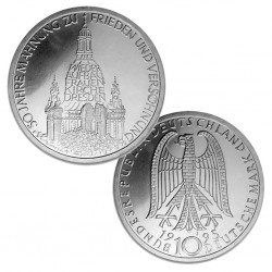 ALEMANIA 10 MARCOS 1995 J RUINAS DE FRAUEN KIRCHE EN DRESDE KM.185 MONEDA DE PLATA SC Germany 10 Marks silver BRD