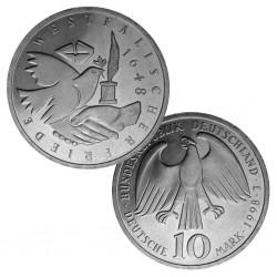 ALEMANIA 10 MARCOS 1998 J PALOMA DE LA PAZ WESTFALIA KM.191 MONEDA DE PLATA SC Germany 10 Marks silver BRD
