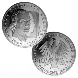 ALEMANIA 10 MARCOS 1994 G FILOSOFO JOHANN GOTTFRIED KM.184 MONEDA DE PLATA SC Germany 10 Marks silver BRD
