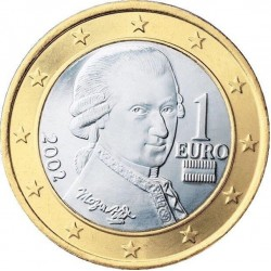 AUSTRIA 1 EURO 2002 WOLFGANG AMADEUS MOZART SC MONEDA BIMETALICA Österreich coin