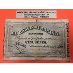 ESPAÑA BANCO DE SANTANDER 50 PESETAS 1936 ANTEFIRMA DEL BANCO SANTANDER 020438 BILLETE DE LA GUERRA CIVIL