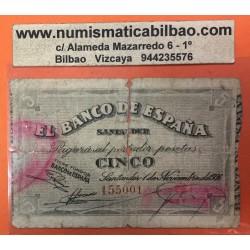 ESPAÑA BANCO DE SANTANDER 5 PESETAS 1936 ANTEFIRMA DEL BANCO MERCANTIL 155001 RARO BILLETE DE LA GUERRA CIVIL