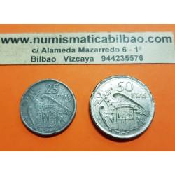 @FALSA DE POCA y ERROR DE METALES@ ESPAÑA 25 PESETAS 1957 + 50 PESETAS 1957 FRANCO ¿¿MONEDA DE PLOMO??