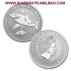 AUSTRALIA 1/2 DOLAR 2014 GRAN TIBURON BLANCO MONEDA DE PLATA SC 1/2 ONZA OZ Great White Shark