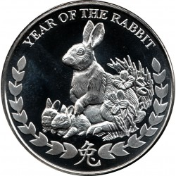 REPUBLIC OF SOMALILAND 1000 SHILLINGS 2011 YEAR OF THE RABBIT AÑO DEL CONEJO SC MONEDA DE PLATA 1 ONZA Oz OUNCE silver