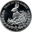 REPUBLIC OF SOMALILAND 1000 SHILLINGS 2011 YEAR OF THE RABBIT AÑO DEL CONEJO SC MONEDA DE PLATA 1 ONZA Oz OUNCE silver