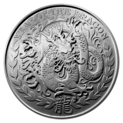 REPUBLIC OF SOMALILAND 1000 SHILLINGS 2012 YEAR OF THE DRAGON AÑO DEL DRAGON SC MONEDA DE PLATA 1 ONZA Oz OUNCE silver