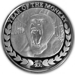 REPUBLIC OF SOMALILAND 1000 SHILLINGS 2016 YEAR OF THE MONKEY AÑO DEL MONO GORILA SC MONEDA DE PLATA 1 ONZA Oz OUNCE silver