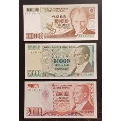 @OFERTA LOTE DE 3 BILLETES@ TURQUIA 20000 LIRAS 1988 + 50000 LIRAS 1995 + 100000 LIRAS 1991 MIMAR SINAN EBC+ Turkey