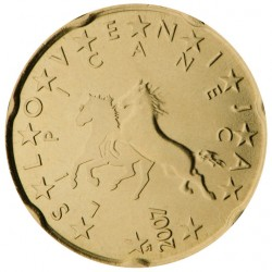 ESLOVENIA 20 CENTIMOS 2007 CABALLOS ESLOVENOS MONEDA DE LATON SC Slovenia 20 Euro Cents