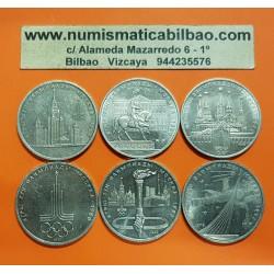 @OFERTA@ RUSIA 1 RUBLO 1977+1978+1979+1980 OLIMPIADA MOSCU 80 CCCP 6 monedas de Nickel @INCLUYE RARO ERROR EN RELOJ@ URSS