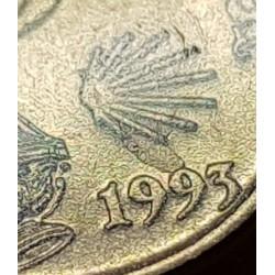 @ERROR SOBRANTES TROZOS DE METAL EN CONCHA y NUMERO@ ESPAÑA 5 PESETAS 1993 JACOBEO 93 MONEDA DE LATON SC VARIANTE CATALOGADA