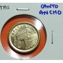 @ERROR CANTO ANCHO@ ESPAÑA 5 PESETAS 1994 ARAGON REY JUAN CARLOS I MONEDA DE LATON SIN CIRCULAR SC VARIANTE CATALOGADA