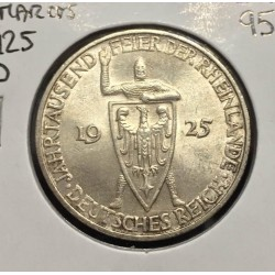 ALEMANIA 3 MARCOS 1925 D WEIMAR CABALLERO MEDIEVAL CON ESCUDO KM.46 MONEDA DE PLATA @LUJO@ Germany 3 Reichsmark silver coin