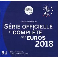 FRANCIA CARTERA OFICIAL EUROS 2018 SC 1+2+5+10+20+50 Centimos + 1 EURO + 2 EUROS 2018 UNC BU SET KMS