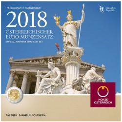 AUSTRIA CARTERA EUROS 2018 SC 1+2+5+10+20+50 Centimos + 1 EURO + 2 EUROS 2018 UNC BU SET KMS