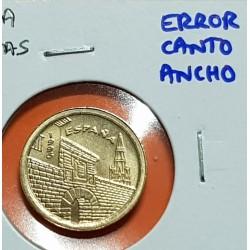 @ERROR CANTO ANCHO@ ESPAÑA 5 PESETAS 1996 LA RIOJA REY JUAN CARLOS I MONEDA SIN CIRCULAR LATON SC VARIANTE CATALOGADA