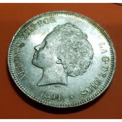 ESPAÑA 5 PESETAS 1894 * 18 -- PGV REY ALFONSO XIII MONEDA DE PLATA (DURO) @94 NO VISIBLE@ 1 Spain silver KM.700