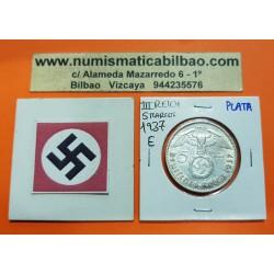 ALEMANIA 5 MARCOS 1937 E AGUILA y ESVASTICA NAZI III REICH KM.94 MONEDA DE PLATA Germany 5 Reichsmark