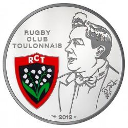 FRANCIA 10 EUROS 2012 RUGBY CLUB RUGBY TOULONNAIS ESCUDO A COLORES MONEDA DE PLATA PROOF ESTUCHE