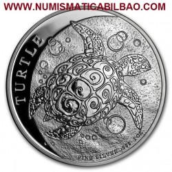 @1 ONZA 2018@ NIUE 2 DOLARES 2018 TORTUGA SC MONEDA DE PLATA PURA 999 silver $2 Dollars Turtle coin CAPSULA