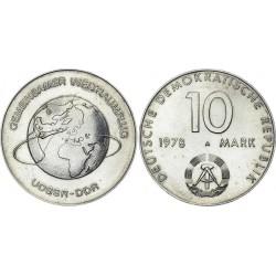 ALEMANIA DEMOCRATICA 10 MARCOS 1978 A NAVES ESPACIALES URSS y RDA KM.70 MONEDA DE NICKEL SC Germany DDR 10 Marks