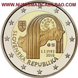 ESLOVAQUIA 2 EUROS 2018 ARCO ROMANICO y MAPA 25 ANIVERSARIO DE LA REPUBLICA SC MONEDA CONMEMORATIVA Slovakia euro coin