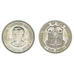 FILIPINAS 1 PESO 1964 ANDRES BONIFACIO NATIONAL HERO KM.193 MONEDA DE PLATA silver coin Philippines