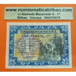 ESPAÑA 1 PESETA 1940 HERNAN CORTES A CABALLO Serie D 8290556 Pick 121 BILLETE SC PLANCHA SIN CIRCULAR Spain