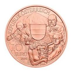 AUSTRIA 10 EUROS 2016 REGION de ALTA AUSTRIA Salzburgo MOZART MONEDA DE COBRE SC ÖSTERREICH EURO COPPER COIN