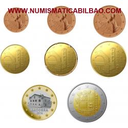 @RARAS@ ANDORRA MONEDAS EURO 2014 SC 1+2+5+10+20+50 CENTIMOS 1 EURO + 2 EUROS 2014 @PRIMER AÑO DE EMISION@