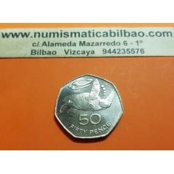 SANTA HELENA y ASCENSION 50 PENIQUES 1991 TORTUGA MARINA KM.16 MONEDA DE NICKEL SC @RARA@ UK Colony 50 Pence