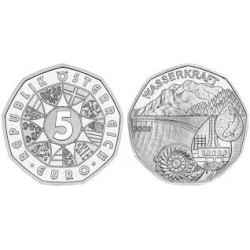 AUSTRIA 5 EUROS 2003 PRESA WISSER MONEDA DE PLATA SIN CIRCULAR SILVER UNC WASSERKRAFT