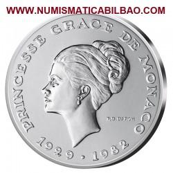 @RARA@ MONACO 10 FRANCOS 1982 GRACE KELLY KM.E73 MONEDA DE PLATA @ESSAI@ CERTIFICADO silver francs DISEÑO SIMILAR A 2 EUROS 2007