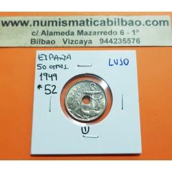 ESPAÑA 50 CENTIMOS 1949 * 19 52 ESTADO ESPAÑOL FRANCISCO FRANCO Tipo FLECHAS KM.777 MONEDA DE NICKEL SIN CIRCULAR 1