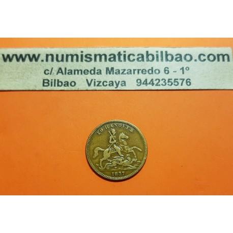 INGLATERRA Ficha de Juego 1837 1849 VICTORIA REGINA DUQUE DE CUMBERLAND A  CABALLO TO HANNOVER MONEDA DE LATON Gaming Token