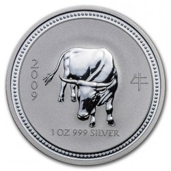 AUSTRALIA 1 DOLAR 2009 AÑO DEL BUEY 1ª SERIE LUNAR MONEDA DE PLATA $1 dollar silver 1 ONZA OZ OUNCE YEAR OF THE OX
