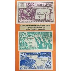 @OFERTA@ ESPAÑA 25 CENTIMOS + 50 CENTIMOS + 1 PESETA 1937 aprox. EJERCITO REPUBLICANO BATALLON 502 SIN CIRCULAR @RAROS@