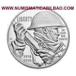ESTADOS UNIDOS 1 DOLAR 2018 1918 SOLDADO y FUSIL WORLD WAR I CENTENNIAL MONEDA DE PLATA PROOF ESTUCHE $1 Dollar US MINT