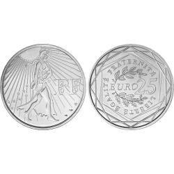 FRANCE FRANKREICH 25 EUROS 2009 SILVER UNC SEMEUSE