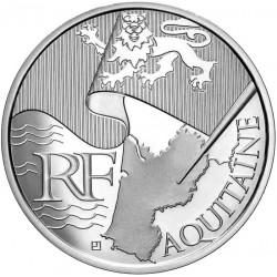 FRANCIA 10 EUROS 2010 Serie REGIONES - AQUITAINE BANDERA KM.1645 MONEDA DE PLATA SC France 10 Euro silver coin