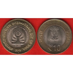 INDIA 10 RUPIAS 2015 AÑO INTERNACIONAL DEL YOGA KM.NEW MONEDA BIMETALICA SC 10 Rupees