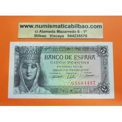 ESPAÑA 5 PESETAS 1943 REINA ISABEL LA CATOLICA Serie G 8604487 Pick 127 BILLETE SIN CIRCULAR SC PLANCHA Spain